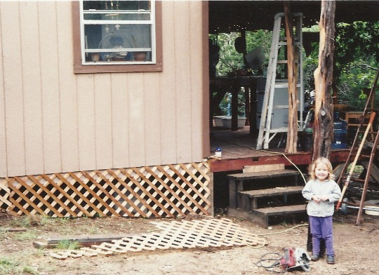 The 240 square foot house (tool shed) we lived in for three years. To the right is the outdoor kitchen made from reclaimed fencing.